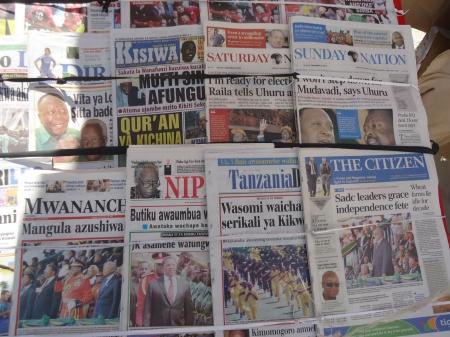 Quelques titres de la presse tanzanienne.
