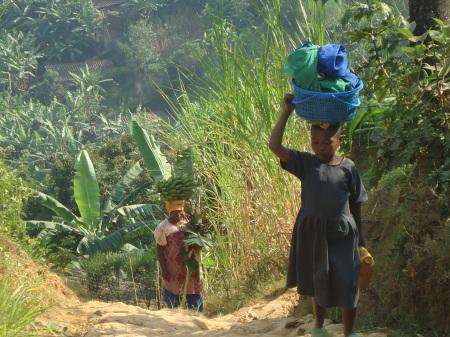 Transport de marchandises et routine quotidienne, le long du chemin entre le lac Ruhondo et Remera, juillet 2013